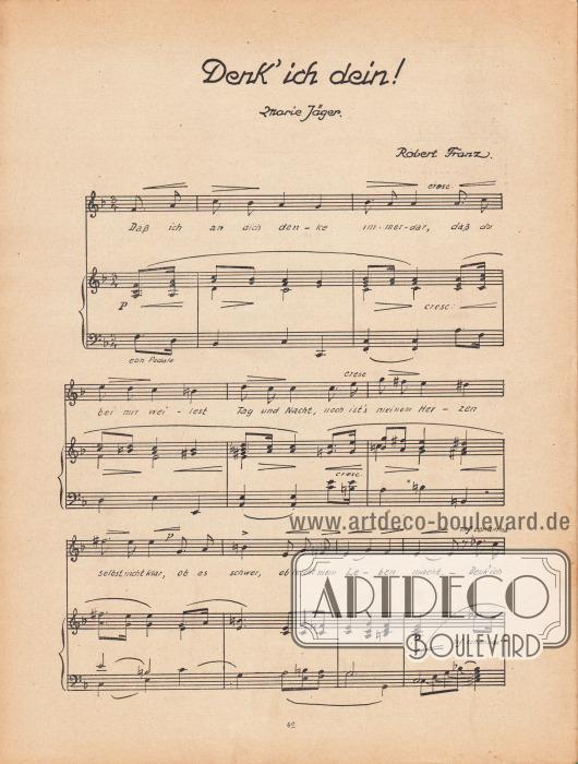 """Musikbeilage der Modenschau mit dem Lied """"Denk' ich dein!"""" (Marie Jäger) und den dazugehörigen Noten vom Komponisten Robert Franz."""