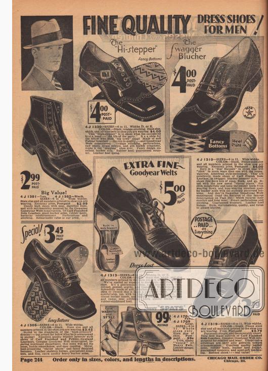 """HOCHWERTIGE ANZUGSCHUHE FÜR MÄNNER!  4 J 1330 – GRÖSSEN 6 bis 11. Weiten D oder E. FARBE: Schwarz; orange Nähte. Geben Sie Größe, Weite und alle Nummern im Schuh an, den Sie tragen… 4,00 $. Der """"Hi-stepper"""", ausgefallene Sohlen. Der """"High-Stepper"""" ist für Schuhe das, was das Saxofon für eine Band ist – """"das Leben der ganzen Party"""". Es ist ein Schuh für den Burschen, der """"großstädtischem"""" Schwung mag! Hergestellt aus weichem Lackleder – Spitze in Qualität – und Goodyear Welt konstruiert. Orangefarbene Nähte, Perforationen, Zahnkanten, Messingösen und vergoldete Schnallenverzierung, machen ihn zum """"poppigsten"""" Schuh überhaupt. Ausgefallenes Design; ausgezeichnete Ledersohle. Gummiabsatz; garantierte Hinterkappen. Fersenfutter aus Leder. 4 J 1381 – Hellbraun. 4 J 1382 – Schwarz. GRÖSSEN 6 bis 11. Breite Weiten. Geben Sie die Größe und alle Nummern an, die in Ihrem Schuh aufgedruckt sind. Sparpreis, frankiert… 2,99 $. Großer Wert! Dandyhaft hohe Schuhe mit sauberen, gediegenen Linien und mit einer hohen Haltbarkeit, die durch echte Goodyear Welt Konstruktion gewährleistet wird. Aus Kalbs-Ober- und Seitenleder; gute Ledersohlen, Gummi-Absätze, hintere Stützstreben-Verstärkungen. Perforationen und Nähte. Bemerkenswerter Wert zu unserem Preis. 4 J 1305 – GRÖSSEN 6 bis 11. Breite Weiten. FARBE: Schwarz. Geben Sie die Größe und alle Nummern an, die in Ihrem Schuh abgedruckt sind… 3,45 $. Sonderangebot! Aparte Sohlen. Gearbeitet nach den Standards der """"hoch-anspruchsvollsten"""" und am besten angezogensten Herren – aber preislich weit unter dem, was er zu zahlen gewohnt ist! Exzellente Qualität der Blücher-Schnürschuhe aus Kalbs- und Kiesel-genarbtem Leder, mit echter Goodyear Welt Konstruktion, die dafür sorgt, dass die Sohlen in Form bleiben, nicht ausreißen, innen glatt sind und wieder leicht besohlt werden können. Metallische, fersenschützende """"Klapperplatten"""" und ausgefallene Sohlen. Leder-Rippenfutter, garantierte Hinterkappen und feine, besonders hochwertige, schwere Lede"""