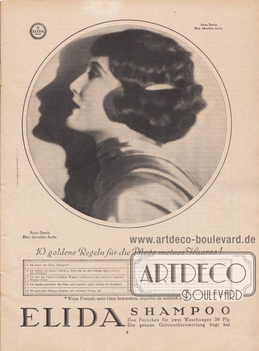 """Werbung: Ganzseitige Werbeanzeige für Elida Shampoo, """"10 goldene Regeln für die Pflege meines Haares!"""", die Werbefotografie zeigt die deutsche Filmschauspielerin Anita Dorris (1903-1993). Foto: Atelier Ernst Schneider, Berlin."""