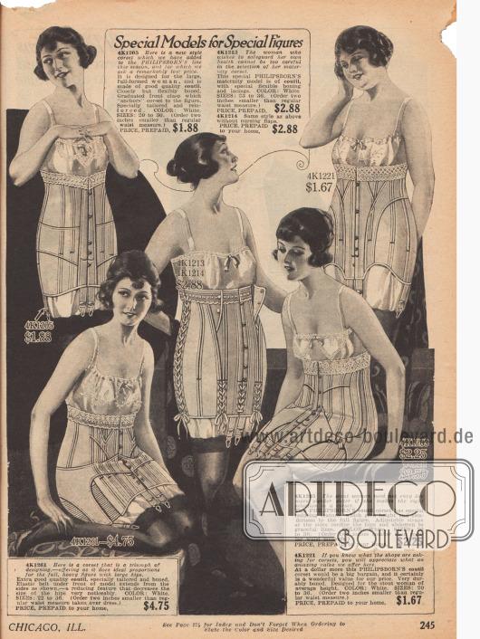 Doppelseite mit Korsetts für Damen aus Coutil (sehr dichtes Baumwollgewebe) und mit Spitzenborten. Die Modelle links werden geschnürt, während die Modelle rechts über Ösen und Hacken geschlossen werden.