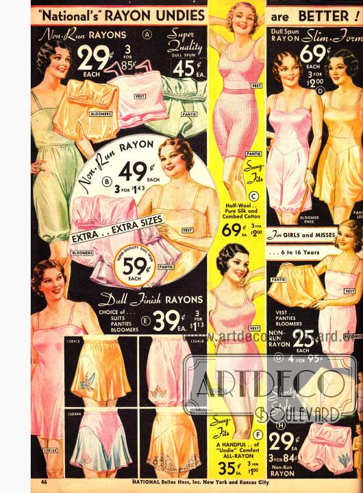 Unterwäsche aus Rayon: Höschen, Pumphöschen und Unterhemden - auch in Übergrößen erhältlich.