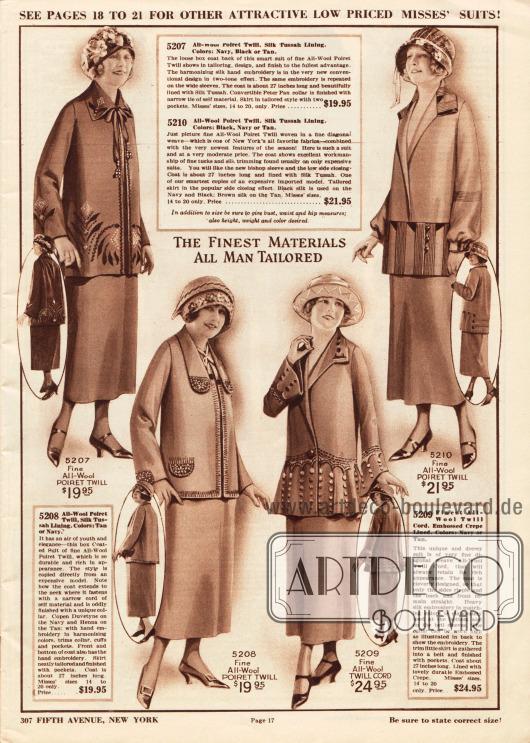 """Damenkostüme der oberen Preisklasse aus Poiret Wolle oder Woll-Kord für 19,95 bis 24,95 Dollar.Die ersten beiden Kostümjacken zeigen den 1924 beliebten geradlinigen weiten """"Box-Schnitt"""", wobei die Jacke ohne Gürtel oder Knöpfe auskommt. Die erste Jacke zeigt zweifarbige von Hand gestickte Motive an Kragen, Unterärmeln und Schoß. Die andere Kostümjacke präsentiert von Hand ausgeführte Stickereien an Kragen, Taschenklappen und als Berandung. Besonders außergewöhnlich bestickt zeigt sich das dritte Modell an den glockigen Ärmeln und am glockigen Schoß. Zurückhaltender zeigt sich dagegen die vierte Kostümjacke, die mit Biesen versehen und schlicht bestickt ist. Die Jacke schließt seitlich und die Ärmel sind an den Handgelenken eng zusammengeführt, wodurch die Unterärmel leicht gepufft wirken."""