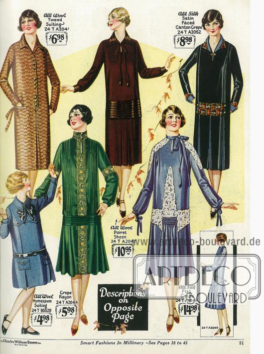 """Fast kniekurze Damenkleider aus Tweed, Rayon Krepp, """"Poiret Sheen"""" (Wollstoff), Seiden Krepp und Seiden-Satin. Die Röcke der oberen 3 Modelle fallen geradlinig dank der eingearbeiteten Falten. Die Röcke der unteren beiden Kleider fallen dagegen glockig, was beim 2. Kleid durch einen Falteneinsatz erreicht wird. Ein Kleidchen aus schlichtem Wollstoff für junge Mädchen wird unten links präsentiert."""