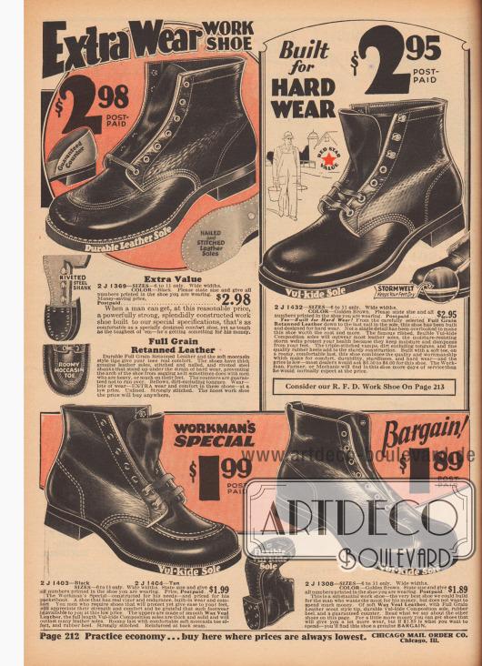 """""""Extra haltbare Arbeitsschuhe. Hergestellt für anspruchsvolle Belastung"""" (engl. """"Extra Wear Work Shoe. Built for Hard Wear""""). Arbeitsschuhe für junge Männer und Herren. Die Stiefeletten sind aus genarbtem und nachgegerbtem Leder oder gewachstem Kalbs- bzw. Rindsleder. Die Sohlen sind aus langlebigem Leder oder vulkanisiertem, biegsamem Gummi – ein Schuh mit vernieteter Sohle. Drei Modelle mit offener Schnürung (Derbyschaftschnitt) und ein Schuh mit geschlossener Oxford-Schnürung. Modelle mit mehrfach vernähter Mokassin-Naht, glatter Schuhkappe oder mit zusätzlich über der Kappe vernähtem Leder (""""scout style tip"""")."""