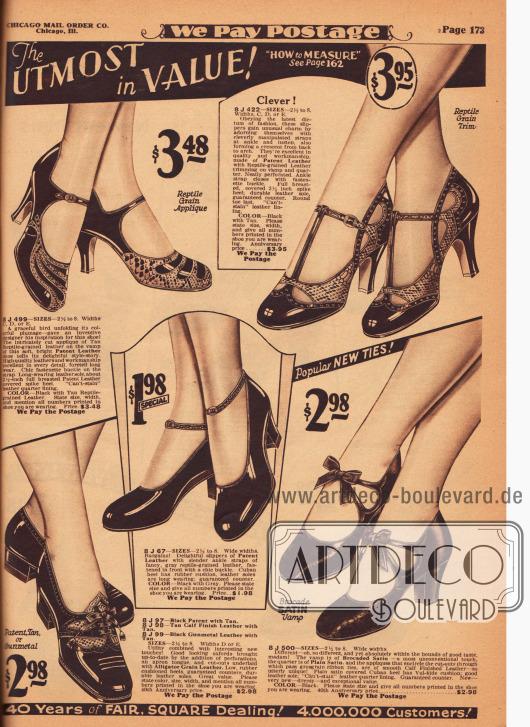Mondäne und recht extravagante Schnallen- und T-Schnallenschuhe sowie ein Schuhpaar mit Knöchelschnalle und ein Oxford-Modell für die Straße. Die Damenschuhe sind aus Lackleder und teilweise flächig und ornamental dekorativ mit reptilienartig genarbtem Leder kombiniert. Unten rechts befindet sich ein Modell aus gemustertem und glattem Satin. Leichte Perforationen und Ausstanzungen, kleine Riemchen und Schleifen verleihen jedem Exemplar das gewisse etwas. Niedrige Absätze, kubanische Absätze und hohe, spitze Absätze sind bei diesen Schuhen zu finden.