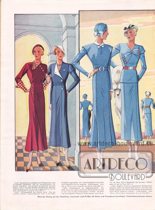 Besuchskleider. Die drei Kleider in der Mitte zeigen stark verbreiterte Schulterpartien, große Schleifenteile oder auch breite, über die Schultern greifende Schalkragen.