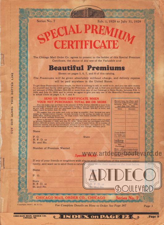 """""""Besonderes Prämien-Zertifikat"""" (das Papier ist stark gealtert und ist deutlich nachgedunkelt). Alle Kunden, die innerhalb des 1. Februar und dem 31. Juli 1929 Bestellungen im Nettowert von 50 Dollar eingesendet haben, können sich kostenlos eine Prämie (also einen Artikel) von den Seiten 5, 6, 7 oder 8 aussuchen."""