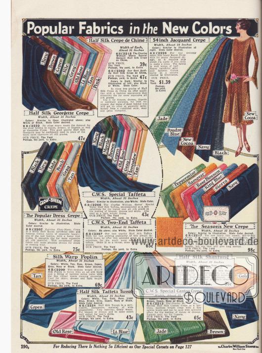 Kleiderstoffe wie Crêpe de Chine, Jacquard, Taft, Poplin und Kreppstoffe. Den Stoffen ist zur Hälfte Rayon beigemischt.