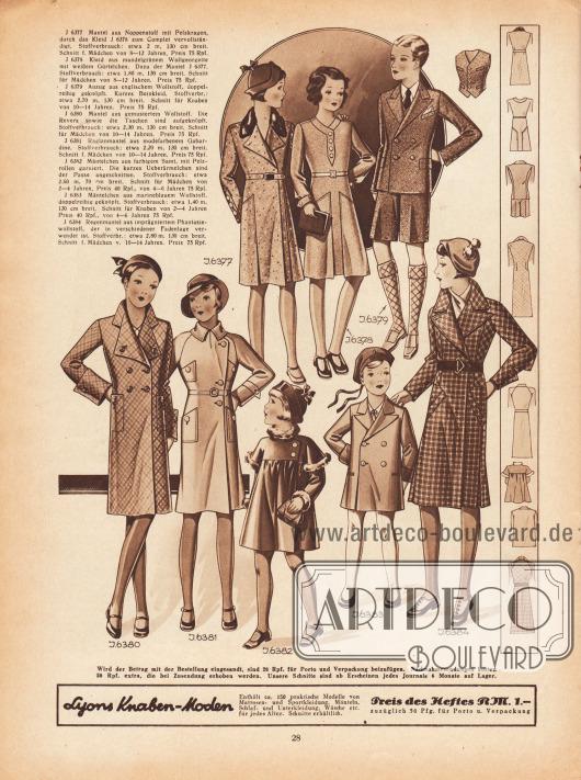 6377: Mantel aus Noppenstoff mit Pelzkragen, durch das Kleid 6378 zum Complet vervollständigt. Schnitt f. Mädchen von 8 bis 12 Jahren. 6378: Kleid aus mandelgrünem Wollgeorgette mit weißem Gürtelchen. Dazu der Mantel 6377. Schnitt für Mädchen von 8 bis 12 Jahren. 6379: Anzug aus englischem Wollstoff, doppelreihig geknöpft. Kurzes Beinkleid. Schnitt für Knaben von 10 bis 14 Jahren. 6380: Mantel aus gemustertem Wollstoff. Die Revers sowie die Taschen sind aufgeknöpft. Schnitt für Mädchen von 10 bis 14 Jahren. 6381: Raglanmantel aus modefarbenem Gabardine. Schnitt für Mädchen von 10 bis 14 Jahren. 6382: Mäntelchen aus farbigem Samt, mit Pelzrollen garniert. Die kurzen Überärmelchen sind der Passe angeschnitten. Schnitt für Mädchen von 2 bis 6 Jahren. 6383: Mäntelchen aus marineblauem Wollstoff, doppelreihig geknöpft. Schnitt für Knaben von 2 bis 6 Jahren. 6384: Regenmantel aus imprägniertem Phantasiewollstoff, der in verschiedener Fadenlage verwendet ist. Schnitt f. Mädchen v. 10 bis 14 Jahren.