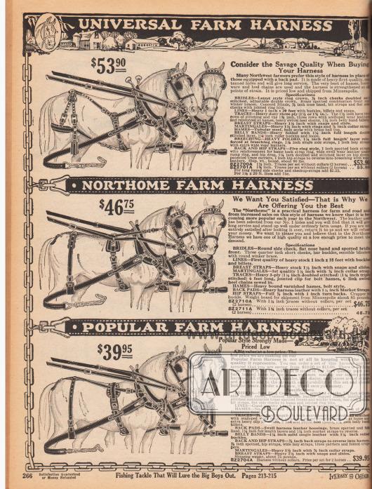Drei Pferdegeschirre aus Leder für Pferdegespanne die für landwirtschaftliche Tätigkeiten und den Transport unabdingbar sind. Die Geschirre kosten 39,95 bis 53,90 Dollar.