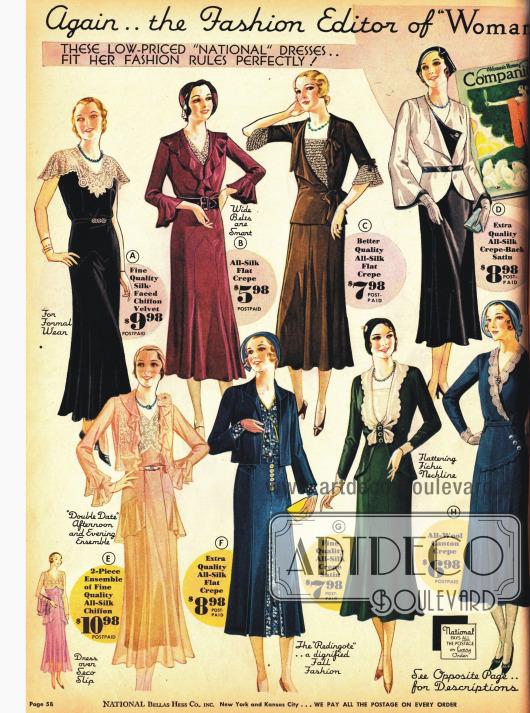 Jäckchen und Boleros sind bestimmend in der Mode 1931. Feminine Kleider für besondere Anlässe.