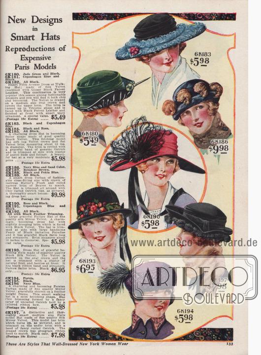 """""""Neue Designs in schicken Hüten. Reproduktionen teurer Pariser Modelle"""" (engl. """"New Designs in Smart Hats. Reproductions of Expensive Paris Models""""). Kleidsame Damenhüte zu Preisen von 5,49 bis 9,98 Dollar. 6K180 / 6K181 / 6K182: Fifth Avenue Hut aus Seiden-Samt, kombiniert mit glänzendem, schwarzem Lackleder. Krone mit drapiertem Samt. Krempe in Dreispitz-Art gebogen und geformt; Unterseide mit Lackleder gedeckt. Federkiel-Ornament. 6K183 / 6K184 / 6K185: Charmanter Hut in Segelhut-Form aus schwarzem Samt mit flacher, glatter Krempe. Krempe mit schmalen Straußenfeder-Bändern, Pastell-Knospen und Blattwerk als Zierrat. 6K186 / 6K187 / 6K188 / 6K189: Enganliegender Turban aus glänzendem Hutmacher-Plüsch (engl. """"Hatters' Plush"""") mit schmaler, gerollter Krempe aus Biberpelz. Hut rundum mit lockigen Straußenfederspitzen verziert. 6K190 / 6K191 / 6K192: Großer, würdevoller Florentinerhut aus Seiden-Spiegel-Samt mit breiter und beidseitig leicht abgebogener Krempe. Unterseite abgefüttert mit schwarzem Samt. Seitliche Paradiesflanke sowie schwarze Satinschleife mit langen Bändern. 6K193: Damenhut aus schwarzem Seiden-Samt. Samt zur Kronenspitze gezogen und gekräuselt. Büschel aus Früchten und Beeren sowie schwarzes Ripsband als Putz. 6K194 / 6K195 / 6K196: Persischer Turban aus lila Spiegel-Samt, wobei der Samt über den federleichten Rahmen gekräuselt angebracht wurde. Federflanke aus glatten Straußenfedern gehalten von einer Schneider-Schleife. 6K197: Pariser Modell-Hut aus Seiden-Spiegel-Samt mit hochgebogener Krempe. An der Krempen-Unterseite dekoratives, gelocktes Straußenfederband. Drapierte Krone mit schwarzem Ripsband in harmonischem Schwarz."""