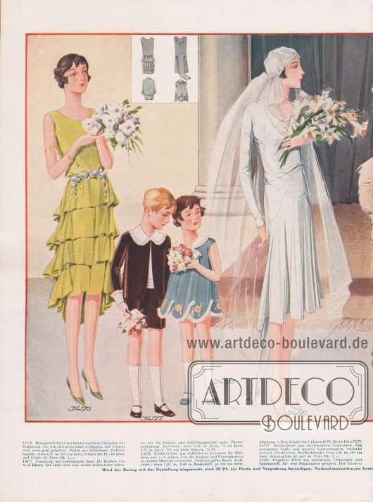 Doppelseite mit eleganten Kleidern für eine Hochzeit.Das kanariengelbe Brautjungfernkleidchen aus Georgette zeigt einen Stufenrock, der sich rückwärtig stark verlängert.Daneben sind ein brauner Festanzug aus Samt für Knaben von 4 bis 8 Jahre mit einer weißen Garnitur und ein Festkleidchen aus stahlblauer Georgette für Mädchen von 2 bis 6 Jahren zu sehen.Milchweißes Crêpe-Satin bildet den Ausgangsstoff für das Brautkleid, während das Kleid aus schwarzem Crêpe Satin mit seitlichen Zipfeln für die Brautmutter gedacht ist.Roséfarbenes Moiré dient als Stoff für das nächste Kleid dessen Raffung mit einer Perlschnalle garniert wird.Zwei Festkleidchen aus rosa Crêpe de Chine und stahlblauem Georgette für Mädchen von 12 bis 16 Jahren beenden die Zusammenstellung.