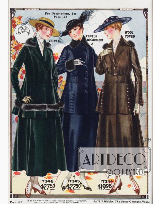 Kostüme für die modebewusste Dame. V.l.n.r.: Kostüm aus dunkelgrünem Samt mit Marderpelzbesatz, marineblaues Kostüm aus Chiffon-Breitgewebe mit Besatz aus Robbenpelz und ein braunes Woll-Popelin Kostüm mit Marderpelz. Die beiden letzten Modelle zeigen modische Zierknopfleisten und sind mit einem aufgenähten Gürtelband gearbeitet, das beim mittleren Modell nicht durchgängig gearbeitet ist.