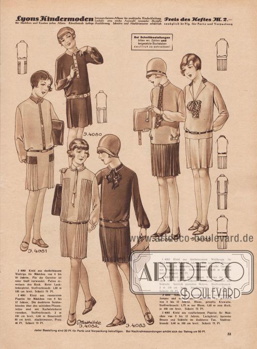 4080: Kleid aus dunkelblauem Wollrips für Mädchen von 6 bis 10 Jahren. Für die Garnitur ist roter Stoff verwendet. Falten erweitern den Rock. Roter Lackledergürtel. 4081: Kleid aus rosenrotem Popeline für Mädchen von 8 bis 12 Jahren. Die dunkleren Seidenblenden über den seitlichen Plisseeteilen sind mit Kurbelstickerei versehen. 4082: Kleid aus himbeerrotem Wollkrepp für Mädchen von 8 bis 12 Jahren. Die seitlichen Plisseeteile hält ein schmaler Ledergürtel. Weiße Garnitur mit Plisseeabschluß. 4083: Kleid aus dunkelblauem Wollrips für Mädchen von 8 bis 12 Jahren. Schwarze Blenden und Schleife. Seitlich gestickte Motive. 4084: Schulkleid, bestehend aus sandfarbenem Jumper und mittelblauem Faltenrock für Mädchen von 8 bis 12 Jahren. Blaue, getupfte Krawatte. 4085: Kleid aus roséfarbenem Popeline für Mädchen von 8 bis 12 Jahren. Lackgürtel; karierter Besatz und Schleife im dunkleren Ton.