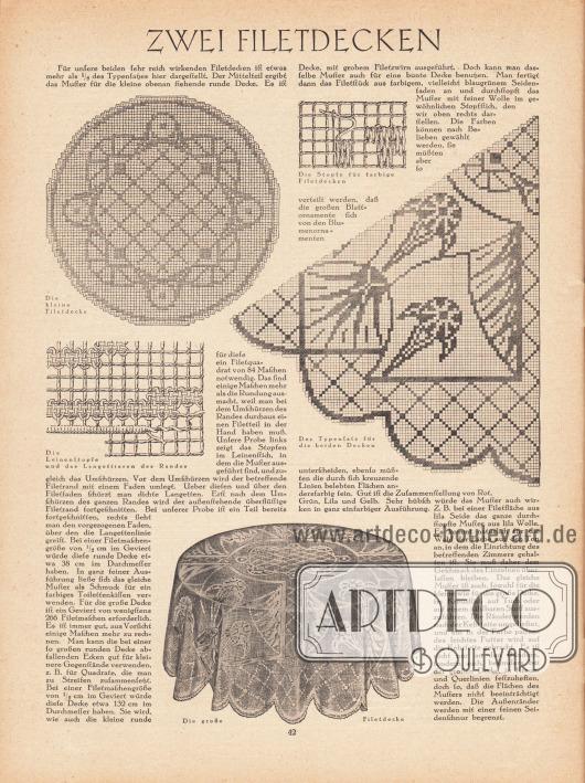 """Artikel: O. V., Zwei Filetdecken.  Der Text wird mittels fünf Zeichnungen illustriert. Die Bildunterschriften lauten """"Die kleine Filetdecke"""", """"Die Stopfe für farbige Filetdecken"""", """"Die Leinenstopfe und das Langettieren des Randes"""", """"Der Typensatz für die beiden Decken"""" sowie """"Die große Filetdecke""""."""