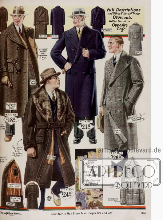 Herrenmäntel aus reinen Wollstoffen. Ein doppelreihiger Ulstermantel mit Gürtelband (oben links), zwei doppelreihige Paletots und ein Mantel mit Pelzkragen aus Murmeltierfell und Innenfutter aus echtem Leder.