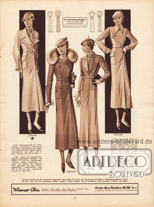 7445: Übergangsmantel aus modefarbenem, gemustertem Jersey-Tweed mit breitem Reverskragen und effektvoll geteilten Ärmeln und großen aufgesetzten Taschen.7446: Damenmantel aus beigefarbenem, diagonal gemustertem Wollstoff mit Fuchskragen, aufgesteppten Taschen und hohen Ärmelaufschlägen. Der Rücken ist reich mit Schnittteilungen versehen.7447: Mantel aus pastellfarbenem Wollstoff und angeschnittenen Achselpassen. Die originell eingearbeiteten Taschen sind mit Reißverschlüssen versehen.7448: Mantel aus hellem Wollstoff mit breit über die Brust greifendem Vorderteil.