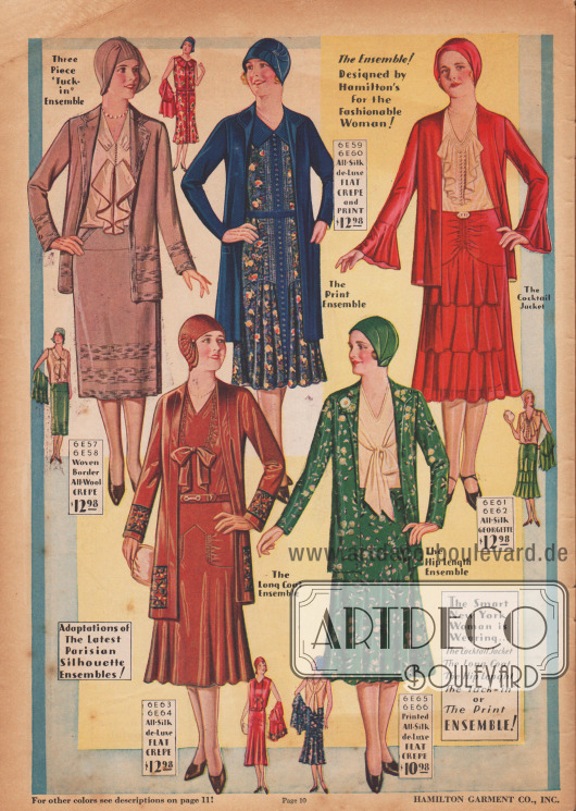 Ensembles und Kleider mit verspielten Jabots und Schleifen an den Blusen. Die neuen Rocklängen sind nun ein muss für jede Frau, die aktuell gekleidet sein möchte.