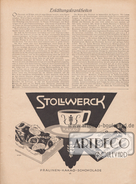 Artikel: Moritz, Dr. Georg, Erkältungskrankheiten.  Werbung: Stollwerck Pralinen – Kakao – Schokolade. Illustration/Zeichnung: Amsel.