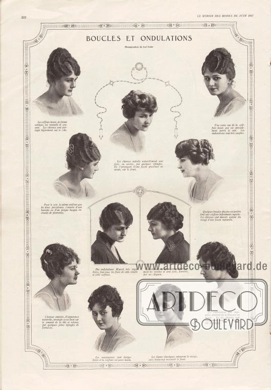 """""""Haarlocken und Wellen"""" (frz. """"Boucles et onduations"""").Hier werden elf elegant frisierte Damenfrisuren für die mondäne Frau des Jahres 1917 gezeigt. Die Frisuren zeigen Haarknoten (Dutts) im Nacken oder hauptsächlich am Hinterkopf, wobei die ganze Frisur recht hoch toupiert ist. Fein gelegte Wellen und Locken sind sorgfältig arrangiert und werden mit dekorativen Haarnadeln gehalten."""