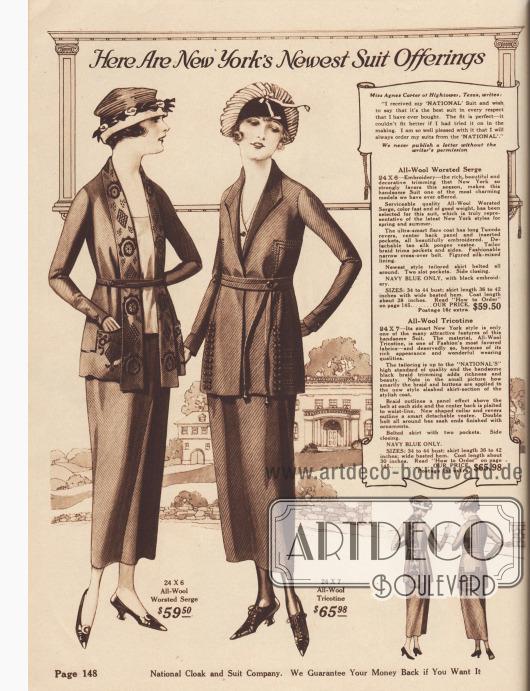 """""""Hier sind New Yorks neueste Kostüm-Angebote"""" (engl. """"Here Are New York's Newest Suit Offerings""""). 24X6: Elegantes Damenkostüm aus marineblauem, gekämmtem Woll-Serge für 59,50 Dollar. Die Kostümjacke zeigt einen breiten, schoßlangen Smokingrevers (""""Tuxedo revers"""") und ein Stoffpaneel im Rücken, die reich bestickt sind. Auch die Taschen sind bestickt und die Ränder mit Einfassborte berandet. Abnehmbarer Plastron aus hellbraunem Seiden-Pongee (Japanseide). Jacke mit gemustertem Seidenfutter. 24X7: Schneiderkostüm aus marineblauem Woll-Tricotine zum Preis von 65,98 Dollar für Damen. Kostümjacke mit reichem Tressen- bzw. Bortenbesatz und Garnitur aus kleinen Knöpfen. Mehrfach geschlitzter Schoß. Rücken mit mehreren eingearbeiteten Falten bis zur Taille. Abnehmbarer Westeneinsatz bzw. Plastron. Doppelgürtel mit losen Enden und Ornamenten.  Oben rechts ein Empfehlungsschreiben von Miss Agnes Carter aus Hightower, Texas, USA."""