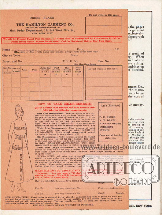 Lose Beilage im Katalog: Bestellschein mit den genauen Anweisungen zum Maßnehmen von Brustumfang, Taille, Hüfte und Rocklänge zur passgenauen Bestellung der gewünschten Kleidung. Maße: 13,9 x 21,6 cm / 5,47 x 8,5 in.