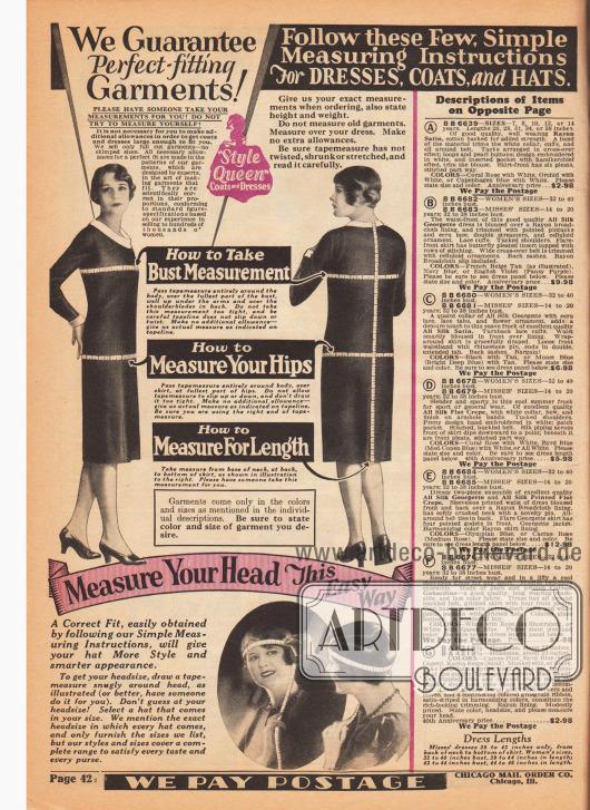 """""""Wir garantieren perfekt passende Kleidungsstücke"""" (engl. """"We Guarantee Perfect-fitting Garments!""""). Seite mit Instruktionen und genauen Beschreibungen zum Maßnehmen von Kleidern und Hüten. Rechts die Beschreibungen der Modelle auf der gegenüberliegenden Seite."""