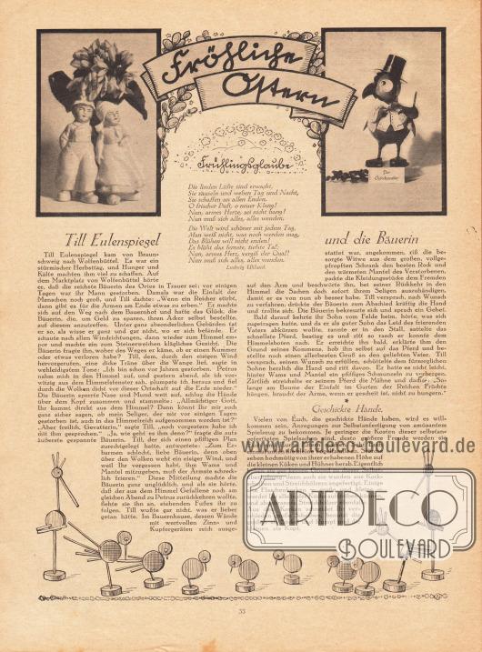 Artikel - Fröhliche Ostern: Uhland, Ludwig, Frühlingsglaube (Gedicht); O. V., Till Eulenspiegel und die Bäuerin; O. V., Geschickte Hände.