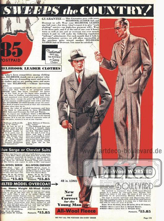 Doppelseite für einreihige Belbrook-Anzüge und zweireihige Mäntel.