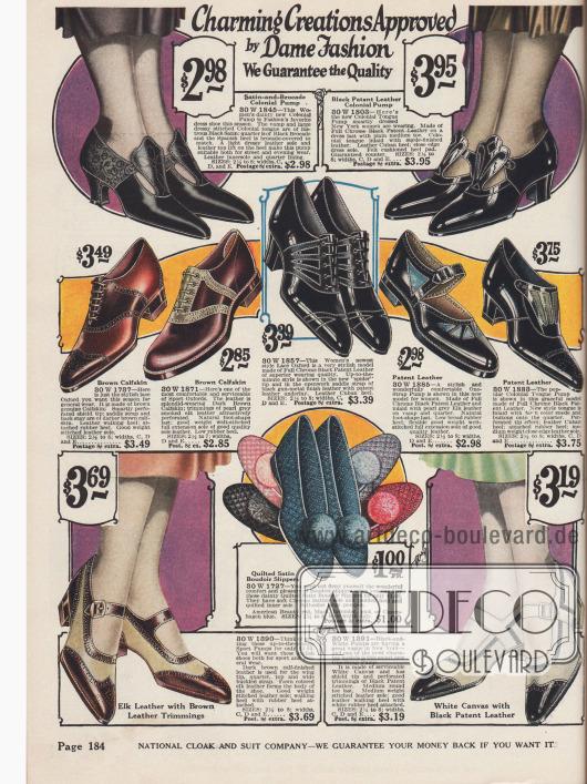 Damenschuhe aus Lackleder und Satin-Brokat (Paar oben links) für die Straße und Abendveranstaltungen.Die meisten Schuhe sind jedoch für sportliche Aktivitäten vorgesehen (untere Schnallenschuhe aus zweifarbigem Leder und die Oxfordschuhe in der Mitte links). Auch Boudoir-Slippers für Damen sind in der Mitte zu finden.