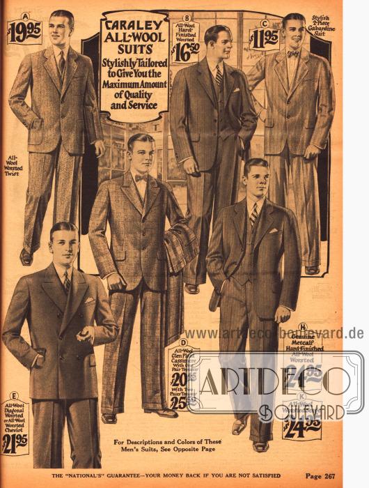Anzüge mit einreihigen Sakkos und einer zweireihigen Version für junge Männer.