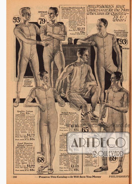 Doppelseite mit lang- und kurzbeinigen sowie lang- und kurzärmeligen Union Suits (dt. Hemdhosen) aus gerippten Baumwollmischstoffen und Nainsook (leichter Musselin) sowie ein Pyjama aus Musselin und ein Nachthemd ebenfalls aus Musselin.