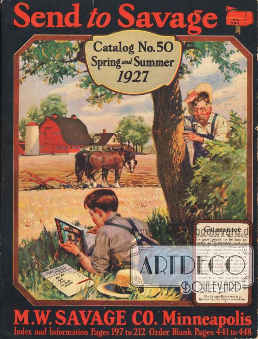 Titelseite des Frühjahr/Sommer Versandhauskatalogs Nr. 50 der Firma M. W. Savage Co. aus Minneapolis, Minnesota, von 1927.