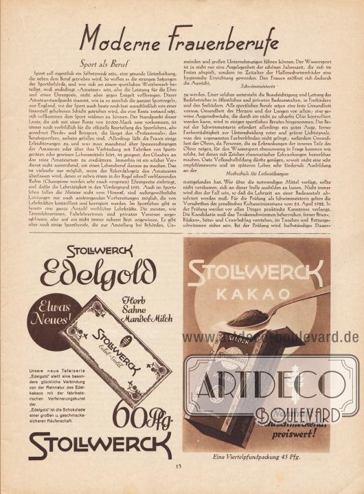 Artikel: O. V., Moderne Frauenberufe (Sport als Beruf, Schwimmeisterin, Hochschule für Leibesübungen).  Werbung: Stollwerck Edelgold (Herb, Sahne Mandel-Milch) und Stollwerck Kakao (Nahrhaft, wohlschmeckend, preiswert).