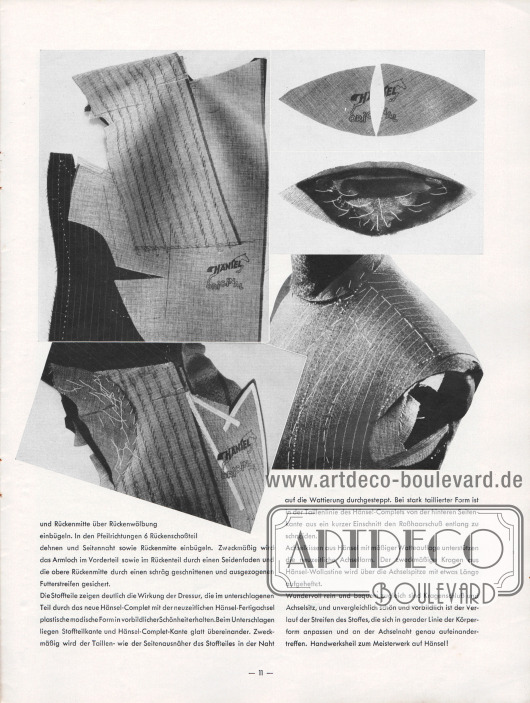 Artikel: Henschke, Bruno, Neuzeitliche Schneiderkunst.  Der Artikel wird mit vier Fotografien mit halbverarbeiteten Sakkos ergänzt, die die Erläuterungen anschaulich machen. Fotos: Hänsel & Co. A.-G.