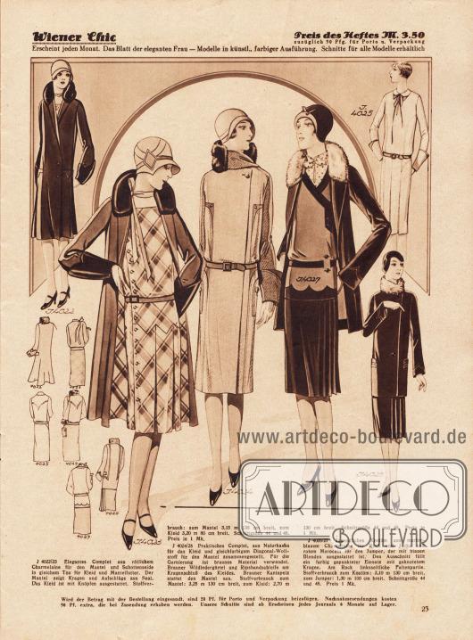 4022/23: Elegantes Complet aus rötlichem Charmelaine für den Mantel und Schottenseide in gleichem Ton für Kleid und Mantelfutter. Der Mantel zeigt Kragen und Aufschläge aus Seal. Das Kleid ist mit Knöpfen ausgestattet. 4024/25: Praktisches Complet, aus Naturkasha für das Kleid und gleichfarbigem Diagonal-Wollstoff für den Mantel zusammengestellt. Für die Garnierung ist braunes Material verwendet. Brauner Wildledergürtel und Ripsbandschleife am Kragenschluß des Kleides. Brauner Kaninpelz stattet den Mantel aus. 4026/27: Jugendliches Kostüm aus marineblauem Charmelaine für Rock und Jacke und rotem Marocain für den Jumper, der mit blauen Blenden ausgestattet ist. Den Ausschnitt füllt ein farbig gepunkteter Einsatz mit geknotetem Kragen. Am Rock linksseitliche Faltenpartie.