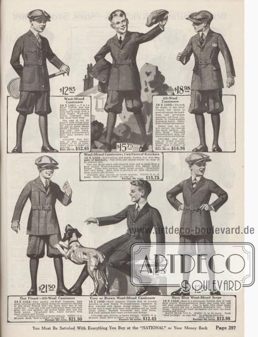 Straßen-, Spiel- und Schulanzüge im Norfolk Stil aus Kaschmirwolle, Baumwoll-Woll-Kaschmir oder Woll- und Baumwoll-Serge für 9 bzw. 11 bis 18-jährige Jungen. Bestellbar sind die Anzüge in den dunklen Farben von Blau, Grau, Braun, Grün oder Marineblau. Die Norfolk Anzüge besitzen aufgesetzte und eingearbeitete Taschen oder eingelassene Schlitztaschen. Ein Modell mit eingearbeiteten, breiten Falten unterhalb der Front-Passe. Abnehmbare Gürtel sowie Knickerbockerhosen. Ein Modell mit einem Paar Wechselhosen.