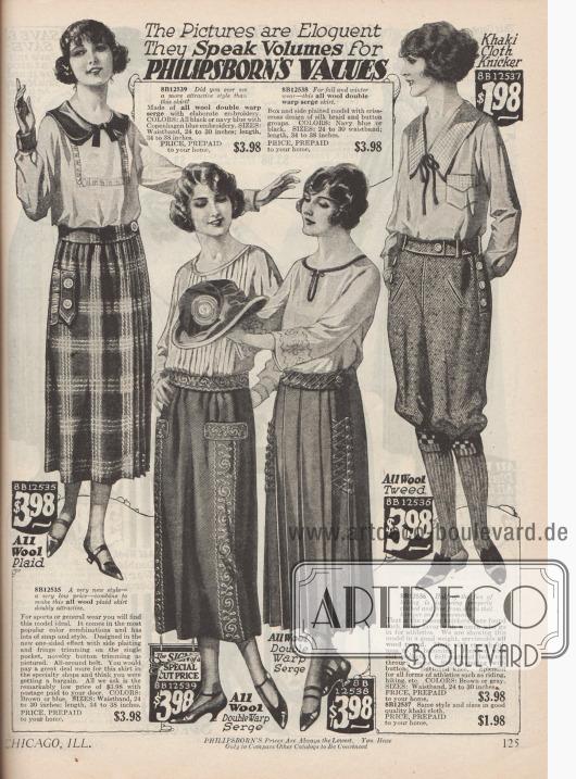Sportkleidung für Frauen. Die Röcke sind aus Wolle und Woll-Serge gearbeitet und sind teilweise bestickt. Zwei der drei Röcke sind aus Plisseestoff gearbeitet um ein Höchstmaß an Bewegung zu ermöglichen. Knickerbockerhosen für Frauen setzten sich zunehmend durch, gerade zum Wandern oder Reiten. Wahlweise kann die Knickerbockerhose aus günstigem Khakistoff oder etwas teurerem Woll-Tweed bestellt werden.