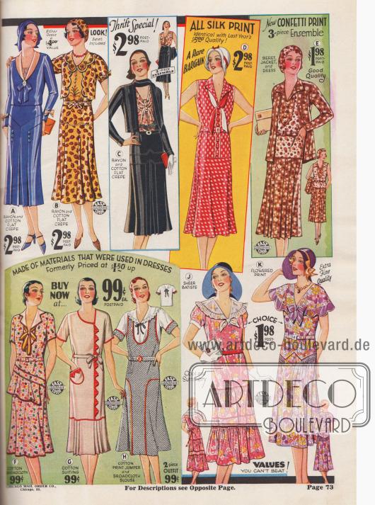 Haushalts- und einfache Sommerkleider aus Wollstoffen. Viele noch mit doppelter Taillierung.