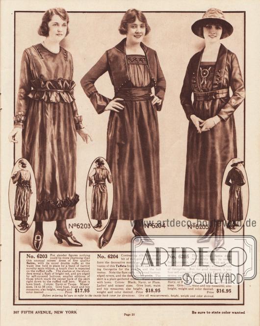 """6203: Recht günstiges Nachmittagskleid aus Satin für Damen mit schlanker Figur. Nach oben abstehende Rüschen an den Unterärmeln und am Saum sowie eine Doppelrüsche in der Taille sind mit schmalen Satin-Bändern vernäht. Die Einschnitte an den Schultern, die mit Knöpfen flankiert sind, geben den Blick auf roten Stoff frei. Das Oberteil ist mit Leinen gefüttert. 6204: Elegantes Taftkleid für Damen, das in den Farben Schwarz, Marineblau oder Violett bestellt werden kann. Das Oberteil zeigt einen breiten, tief geführten Kragen. Vorne öffnet sich das Oberteil und gibt den Blick auf einen Westeneinsatz aus Georgette frei. Die Blende des Halsausschnittes ist bestickt. Glockige Ärmel ebenfalls aus Georgette. Gekräuselter Stoffgürtel. 6205: Praktisches Satinkleid mit bis zum Gürtel geführtem Schalkragen und Westeneinsatz (engl. """"Tuxedo-effect"""") für Damen. Der Westeneinsatz ist mit Seide in der Kleidfarbe und in kontrastierender Farbe bestickt. Über dem Westeneinsatz ein Streifen aus hellerem Georgette. Auf beiden Seiten des Schalkragens sind jeweils vier Knöpfe zu finden. Oberteil mit Futterstoff aus Leinen."""