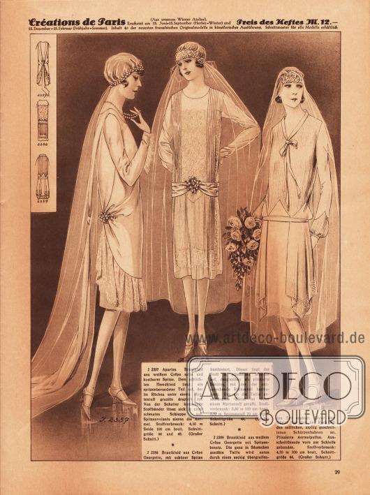 2357: Apartes Brautkleid aus weißem Crêpe Satin und kostbarer Spitze. Dem schlichten Hemdkleid liegt ein spitzenberandeter Teil auf, der im Rücken unter einem Myrtentuff graziös drapiert ist. Von der Schulter kommende Stoffbänder lösen sich in einer schmalen Schleppe auf. Spitzenvolants zieren die Ärmel. 2358: Brautkleid aus Crêpe Georgette, mit schöner Spitze kombiniert. Dieser liegt der Stoff in plissierten Streifen auf, desgleichen als plissierte Schürze, mit der der entsprechende Rückenteil harmoniert. Der um die Taille geschlungene Gürtel ist unter einem Myrtentuff gerafft. 2359: Brautkleid aus weißem Crêpe Georgette mit Spitzenbesatz. Die ganz in Säumchen genähte Taille wird unten durch einen sackig übergreifenden Teil ergänzt. Unter dem Gürtel fügt sich der Rock mit den seitlichen, zipflig geschnittenen Schärpenbahnen an. Plissierte Ärmelpuffen. Ausschnittblende vorn zur Schleife gebunden.