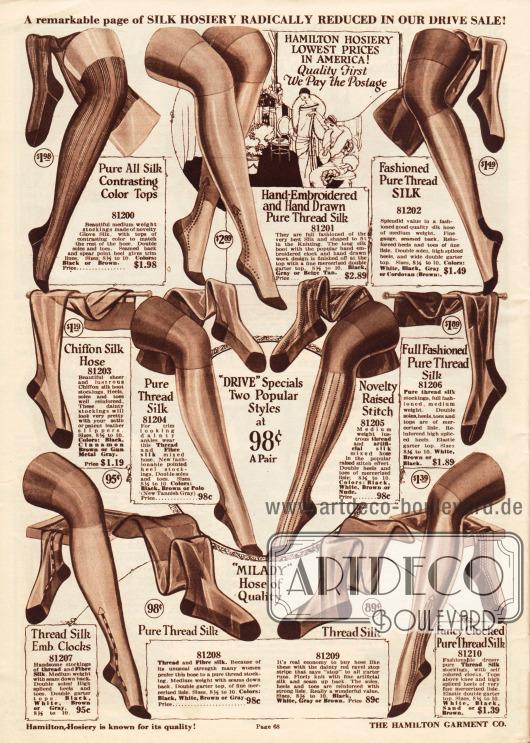 Damenstrümpfe aus reiner Seide oder Chiffon-Seide in verschiedenen Farben mit verstärkten Sohlen und Fersen sowie teilweise mit Stickereien zu Preisen von 89 Cent bis 2,89 Dollar.