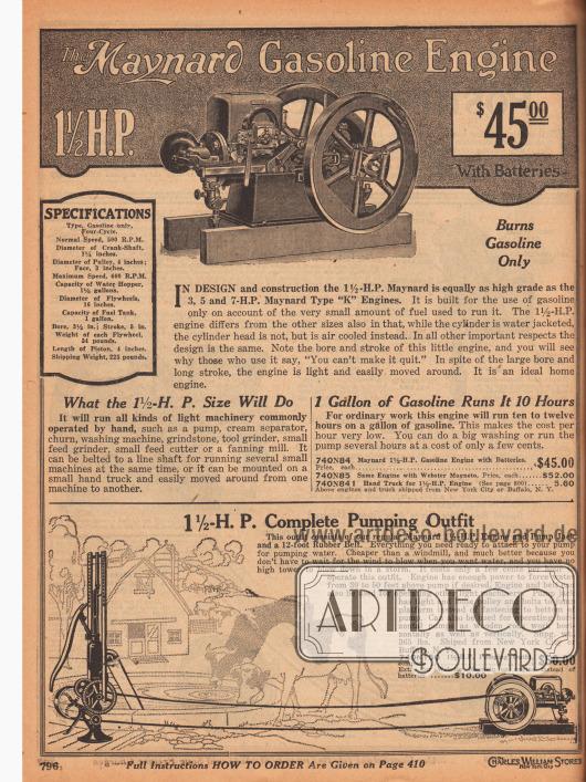 Rein mit Benzin betriebener 1½ PS Motor der Marke Maynard für 45,- Dollar zum Antreiben von Pumpen, Milchschleudern und Schleifmaschinen auf der Farm oder auch ideal zum Betrieb einer Waschmaschine (siehe S. 526). Hierzu wird ein Riemen über eines der Stahlräder gespannt und mit der Waschmaschine o. ä. verbunden. Der Benzinmotor mit einem Gewicht von 225 lb (= knapp über 102 kg) verbrauchte in zehn Stunden Dauerbetrieb etwa eine Gallone Benzin (= 3,79 l). Im unteren Seitenbereich wird eine komplette Pumpausstattung mit Pumpe, Übertragungsriemen und Motor angeboten.