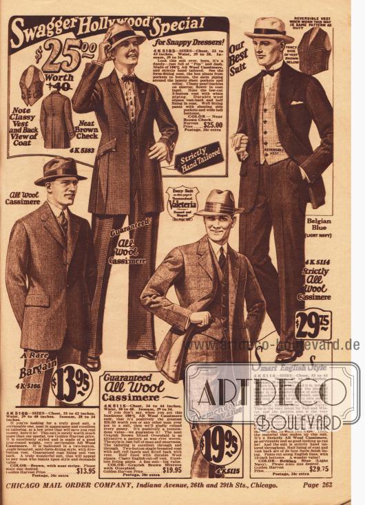 """Woll-Kaschmire Straßenanzüge. Extravagant mögen es Träger des """"Swagger Hollywood"""" Anzugs oben links: das Sakko weist einen sehr engen Schnitt mit schmaler Schulterpartie, kurzen Revers und hoher, enger Taille auf, wodurch der Schoß sehr lang wirkt und zudem betont glockig geschnitten ist. Dagegen ist die Hose bereits der neuen Mode angepasst."""