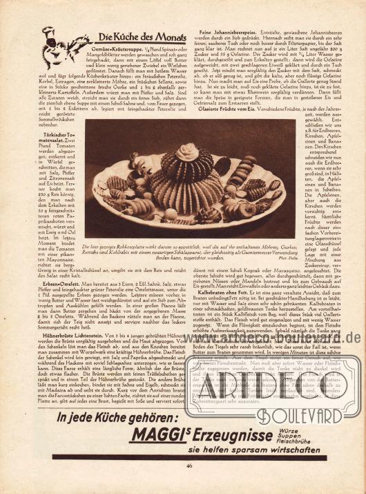 Artikel:O. V., Die Küche des Monats (Gemüse Kräutersuppe, Türkischer Tomatensalat, Erbsen-Omelett, Hühnerbrüste Lichtenstein, Feine Johannisbeerspeise, Glasierte Früchte vom Eis, Kalbsbraten ohne Fett).In der Mitte befindet sich ein Foto von einer Rohkostplatte mit Möhren, Gurken, Rettiche und Kohlrabis&#x3B; Foto: Delia.Werbung:Maggi.