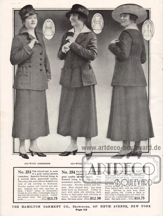 Schneiderkostüme der günstigen Preiskategorie aus Woll-Gabardine und Woll-Popeline für Damen. Kragen, Halbgürtel und Ärmelaufschläge der ersten Kostümjacke sind dezent mit Seide bestickt. Die Taschen sind interessant gearbeitet. Die Kostümjacke des nächsten Modells zeigt einen Überkragen aus weißer Faille Seide. Die großen aufgesetzten Taschen sind mit einfacher Stickerei und Zierknöpfen versehen. Wie die vorherige Jacke ist diese Jacke mit zurückhaltend geblümtem Innenfutter gefüttert. Die Jacke des dritten Kostüms ist dagegen mit in Paisley gemustertem Stoff gefüttert. Der abnehmbare Kragen besteht aus weißer Faille Seide. Abnäher im Rücken geben der Jacke eine taillierte Form.