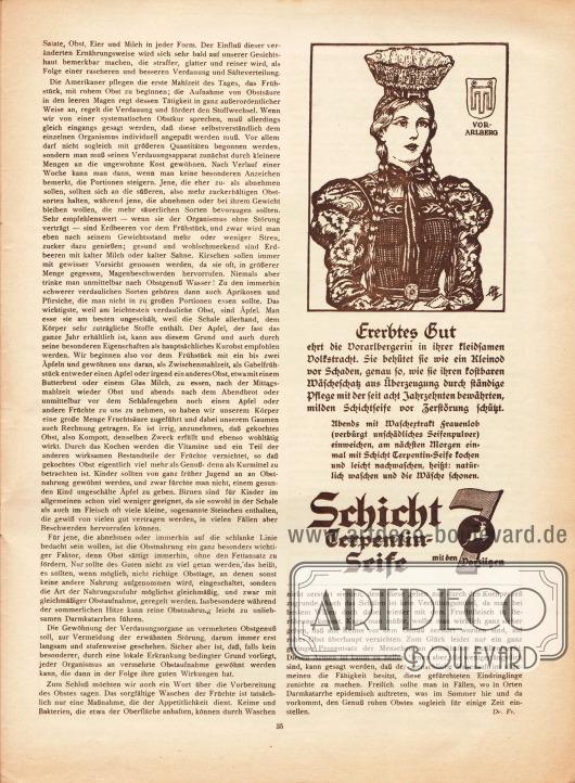 Artikel:Dr. Fr., Sommerliche Obstkuren.Werbung:Schicht Terpentin-Seife (schonendes Waschmittel).