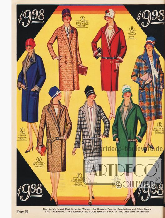 Die mondäne Dame trägt ihren Mantel mit stehendem Kragen und lose gegürtelt. Alle Modelle für 9,98 $.