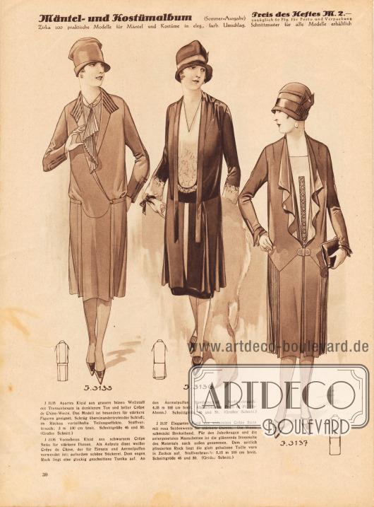 3135: Apartes Kleid aus grauem feinen Wollstoff mit Tressenbesatz in dunklerem Ton und heller Crêpe de Chine-Weste. Das Modell ist besonders für stärkere Figuren geeignet. Schräg übereinandertretender Schluß; im Rücken vorteilhafte Teilungseffekte. 3136: Vornehmes Kleid aus schwarzem Crêpe Satin für stärkere Damen. Als Aufputz dient weißer Crêpe de Chine, der für Einsatz und Ärmelpuffen verwendet ist; außerdem schöne Stickerei. Dem engen Rock liegt eine glockig geschnittene Tunika auf. An den Ärmelpuffen Bandabschluß. 3137: Elegantes Kleid aus weinrotem Crêpe Satin mit rosa Seidenweste für stärkere Damen. Die Weste schmückt Brokatband. Für den Jabotkragen und die untergesetzten Manschetten ist die glänzende Innenseite des Materials nach außen genommen. Dem seitlich plissierten Rock liegt die glatt gehaltene Taille vorn in Zacken auf.